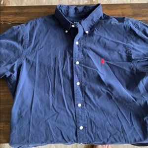 Large blue polo button down